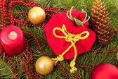 Christmas balls fir cones — Stock Photo