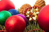 Christmas balls fir cones — Foto Stock