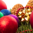 Stock Photo: Christmas balls fir cones