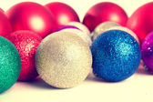 Christmas balls fir cones — Stock Photo
