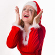 Stock Photo: Santgirl cries humor heart
