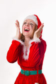 Santa girl cries humor heart — Stock Photo