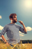 Man with the electronic cigarette — Stock Photo