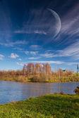 Beautiful sunny day in autumn park — Stock Photo