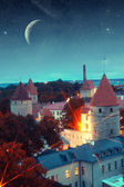 Medieval fairytale city at night — Stock Photo