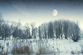 Winter river at night. Elements of this image furnished by NASA — Stock Photo