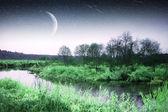 Lever du soleil sur la rivière fin de l'automne — Photo