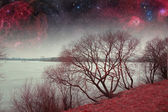 Red night. Elements of this image furnished by NASA — Stock Photo