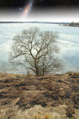 Frozen river in spring. Elements of this image furnished by NASA — Stock Photo
