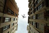 Plane over the city of Brussels tilt - shift  — Stock Photo