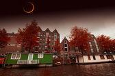 Éclipse solaire sur la ville d'amsterdam. éléments de cette image fu — Photo