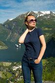 Girl in Geiranger — Stock Photo