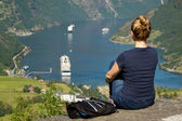 Girl in Geiranger  — Stock Photo