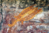 Ubirr turtle rock art — Foto Stock