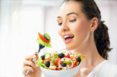 Eating healthy food — Stockfoto
