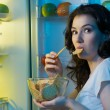Stock Photo: Fridge with food