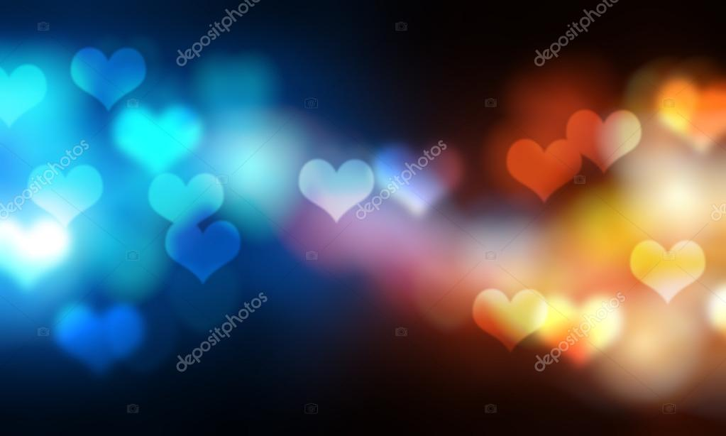 Blurry bright background abstraction with coloured hearts — Stock Photo #18334651