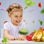 Eating fresh fruit — Stock Photo