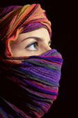 Portrait of beautiful green-eyed woman in hijab — Stock Photo