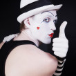 Theater actor with mime makeup — Stock Photo