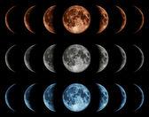 Sedm fází měsíce izolovaných na černém pozadí. — Stock fotografie