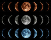 Seven phases of the moon isolated on black background. — Foto de Stock