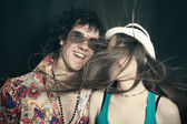 Double studio portrait of young lovers, men and women — Stock Photo