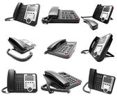 Set of Black IP office phone isolated — Stock Photo