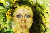 Abstract beautiful girl with flowers on a face — Stock Photo