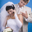 Stock Photo: Groom and bride in conflict situation