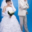 The groom and the bride in a conflict situation — Stock Photo