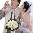 Stock Photo: Groom and bride drink water