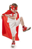Superhero child in a red — Stock Photo