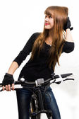 The young girl with bike. — Stock Photo