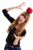 The pretty, young Girl and red apple. Isolated on white. — Stock Photo