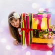 The girl the teenager and her gifts on birthday — Foto Stock