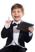 The clever boy and tablet, isolated — Stockfoto