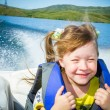 Travel of children on water in the boat — Stock Photo #50003501