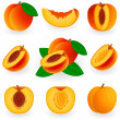 Icon set Peach — Stockvectorbeeld