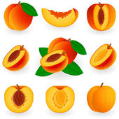 Icon set Peach — Stock Vector
