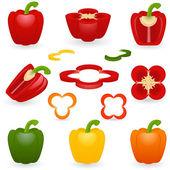 Ikonuppsättning peppar — Stockvektor