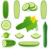 Icon set Cucumber — Stock Vector