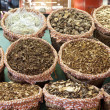 Dried mushrooms in a market, in La Boqueri — Stock Photo