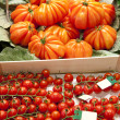 Tomatoes on market, in La Boqueria, market Barcelona — Stock Photo