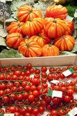 Tomatoes on market, in La Boqueria, market Barcelona — Stock Photo