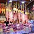Jamon in market, La Boqueria, market Barcelona - Stock Photo