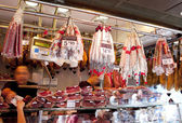 Jamon and sausage, La Boqueria, market Barcelona — Stock Photo
