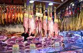 Jamon in market, La Boqueria, market Barcelona — Stock Photo