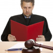 Gavel & male judge isolated — Stock Photo