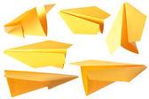 Yellow paper plane — Stock Photo